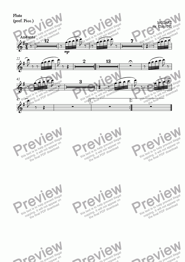 page one of the Flute (or preferably Piccolo) part from Der Vogelf�nger bin ich ja (from Die Zauberfl�te/The Magic Flute) arranged for baritone and small orchestra