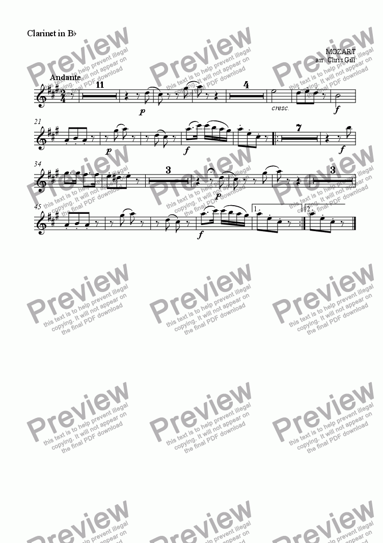 page one of the Clarinet in Bb part from Der Vogelf�nger bin ich ja (from Die Zauberfl�te/The Magic Flute) arranged for baritone and small orchestra
