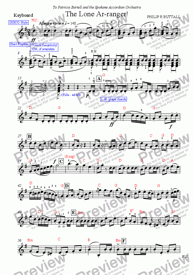 page one of the Keyboard (optional) part from The Lone Ar-ranger! (Accordion Orchestra)