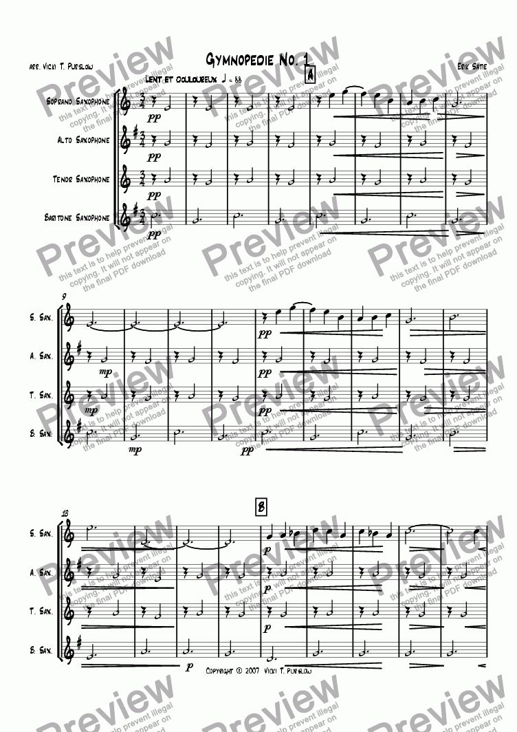 page one of the Soprano Sax part from Gymnopedie 1