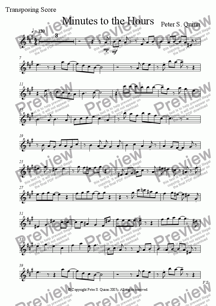 page one of the Cornet in Bb part from Minutes to the Hours