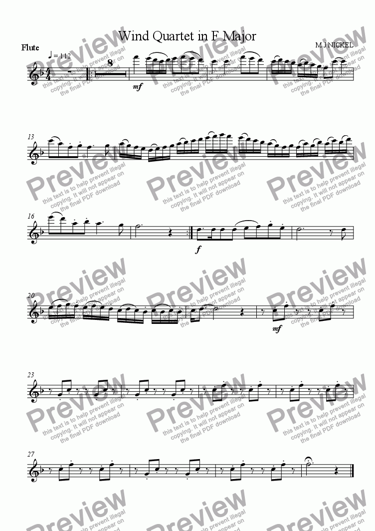 page one of the Flute part from Wind Quartet in F Major