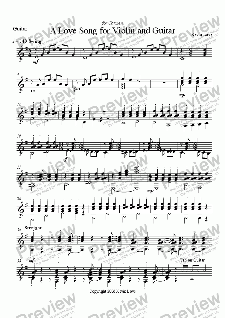page one of the Guitar part from A Love Song for Violin and Guitar