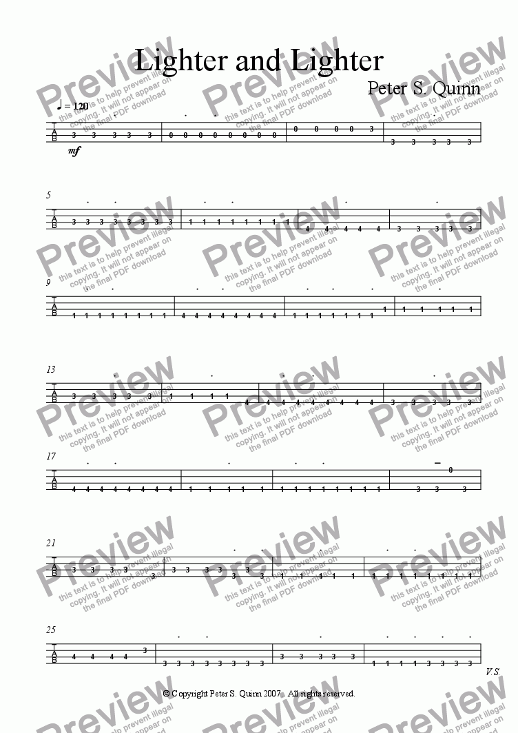 page one of the 4-string Bass Guitar part from Lighter and Lighter