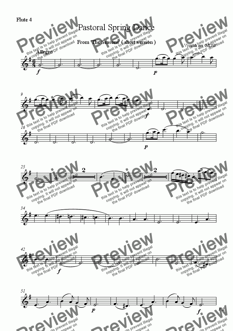 page one of the Flute 4 part from Vivaldi Seasons Suite: Pastoral Spring Dance ( short version )