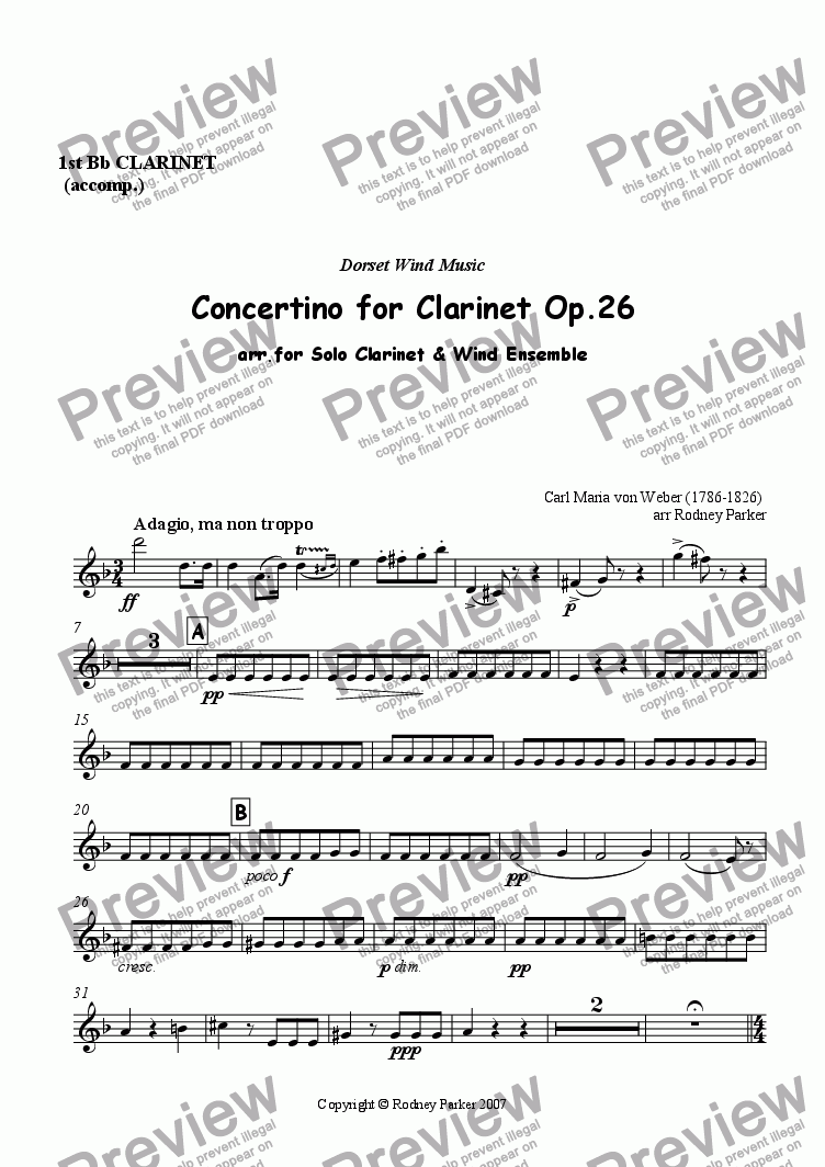 page one of the 1st Bb Clarinet part from Concertino for Clarinet Op.26