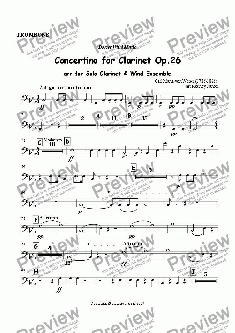 page one of the Trombone part from Concertino for Clarinet Op.26