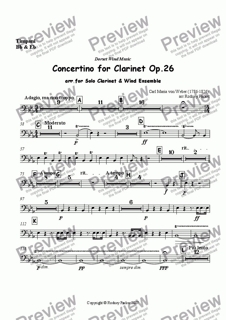 page one of the Timpani part from Concertino for Clarinet Op.26
