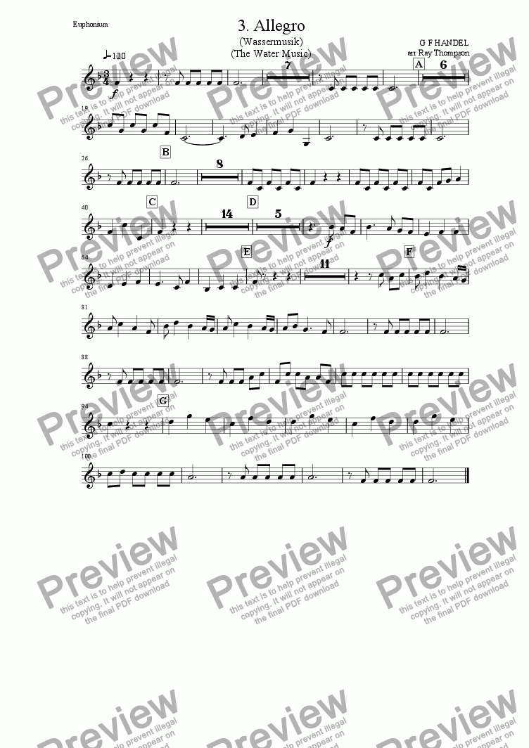 page one of the Euphonium (Treble Clef) part from Water Music (Wassermusik)(Horn Suite in F): 3.Allegro