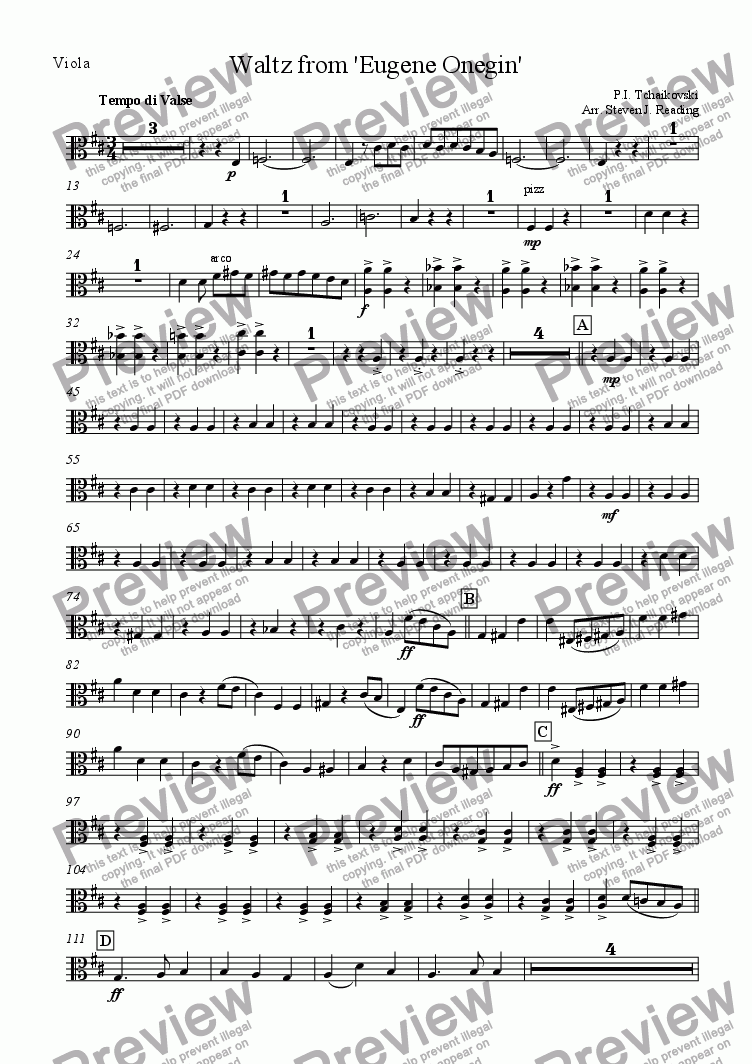 page one of the Viola part from Waltz from Eugene Onegin