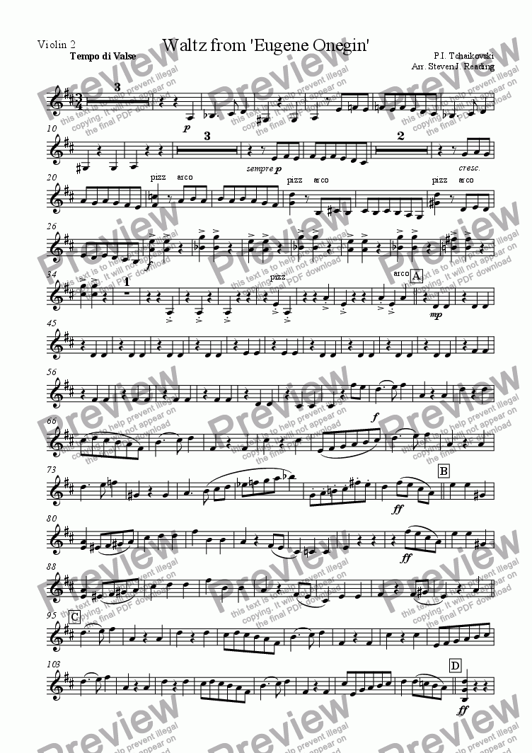 page one of the Violin2 part from Waltz from Eugene Onegin