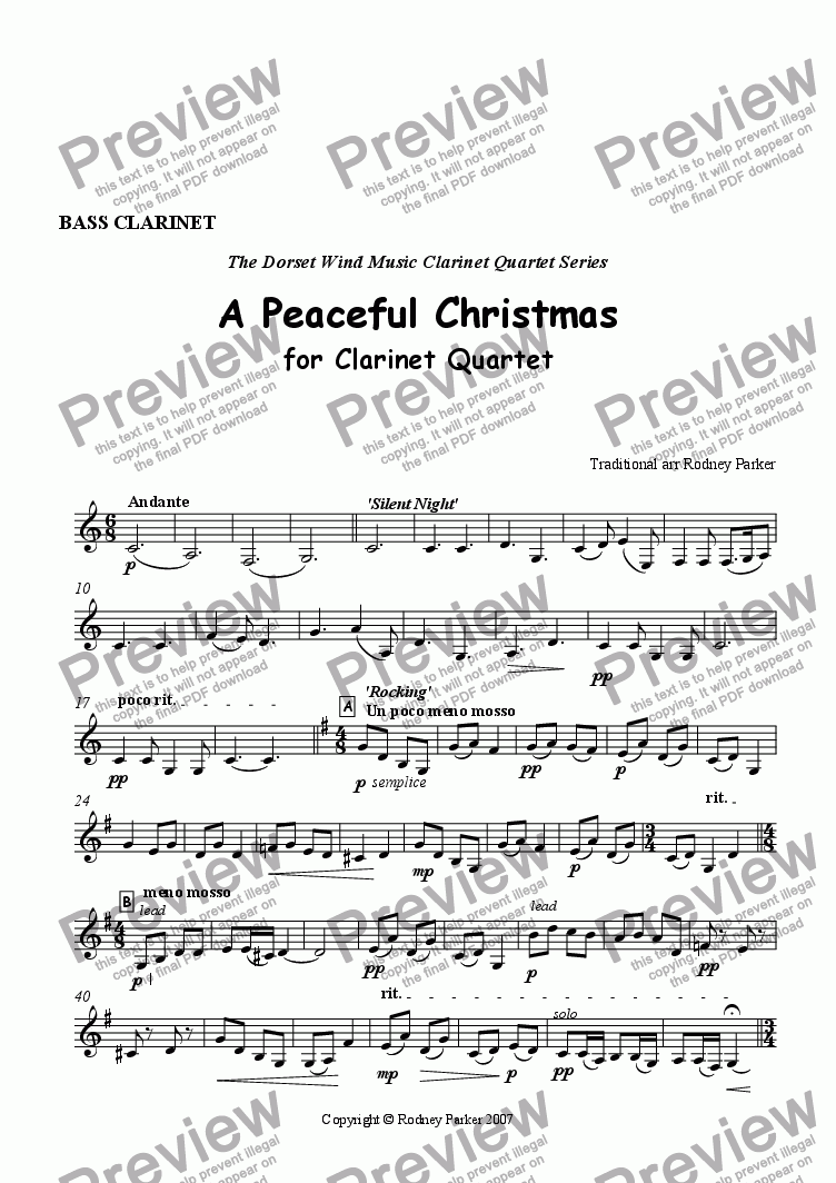 page one of the Bass Clarinet part from A Peaceful Christmas for Clarinet Quartet