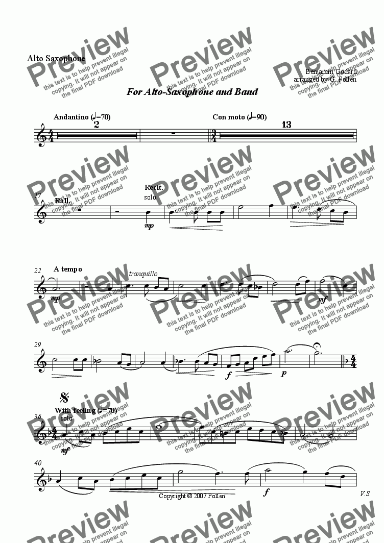 page one of the Alto Saxophone part from Beceuse de Jocelyn (Alto-Sax & Concert wind Band)