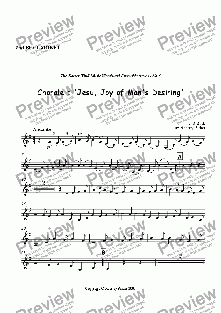 page one of the 2nd Bb Clarinet part from Choral : 'Jesu, Joy of Man's Desiring'