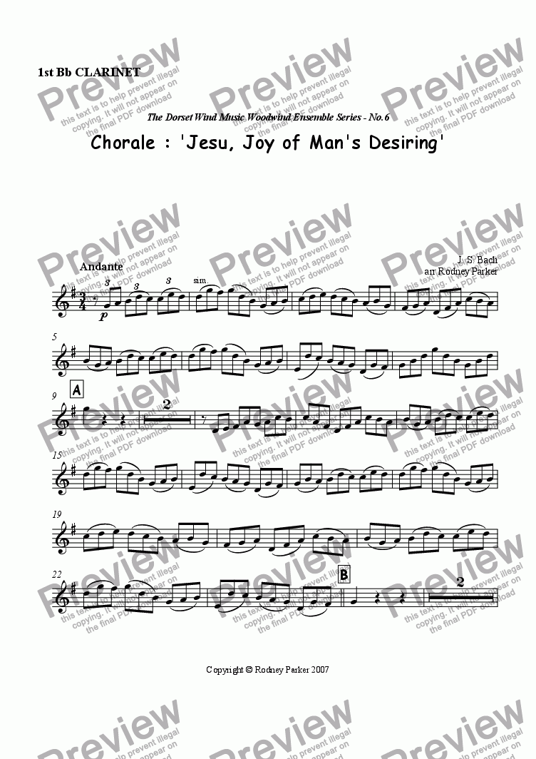 page one of the 1st Bb Clarinet part from Choral : 'Jesu, Joy of Man's Desiring'
