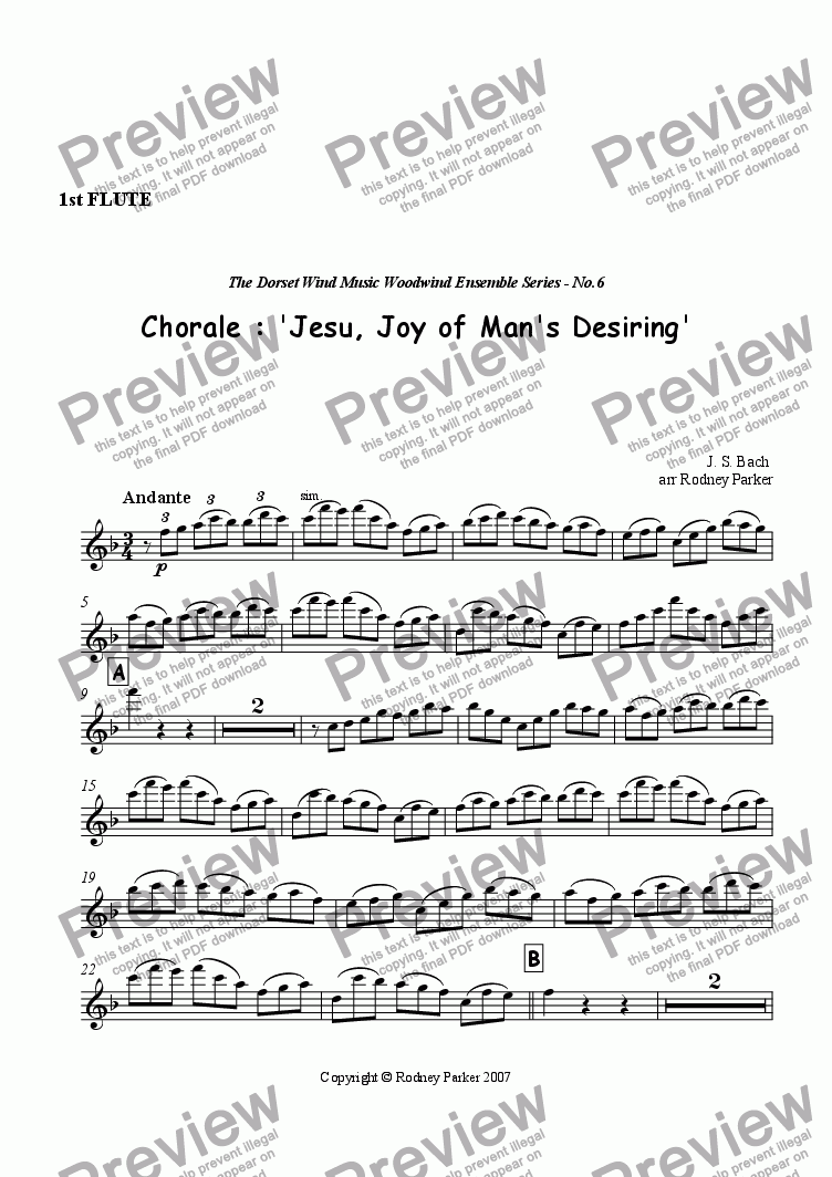 page one of the 1st Flute part from Choral : 'Jesu, Joy of Man's Desiring'