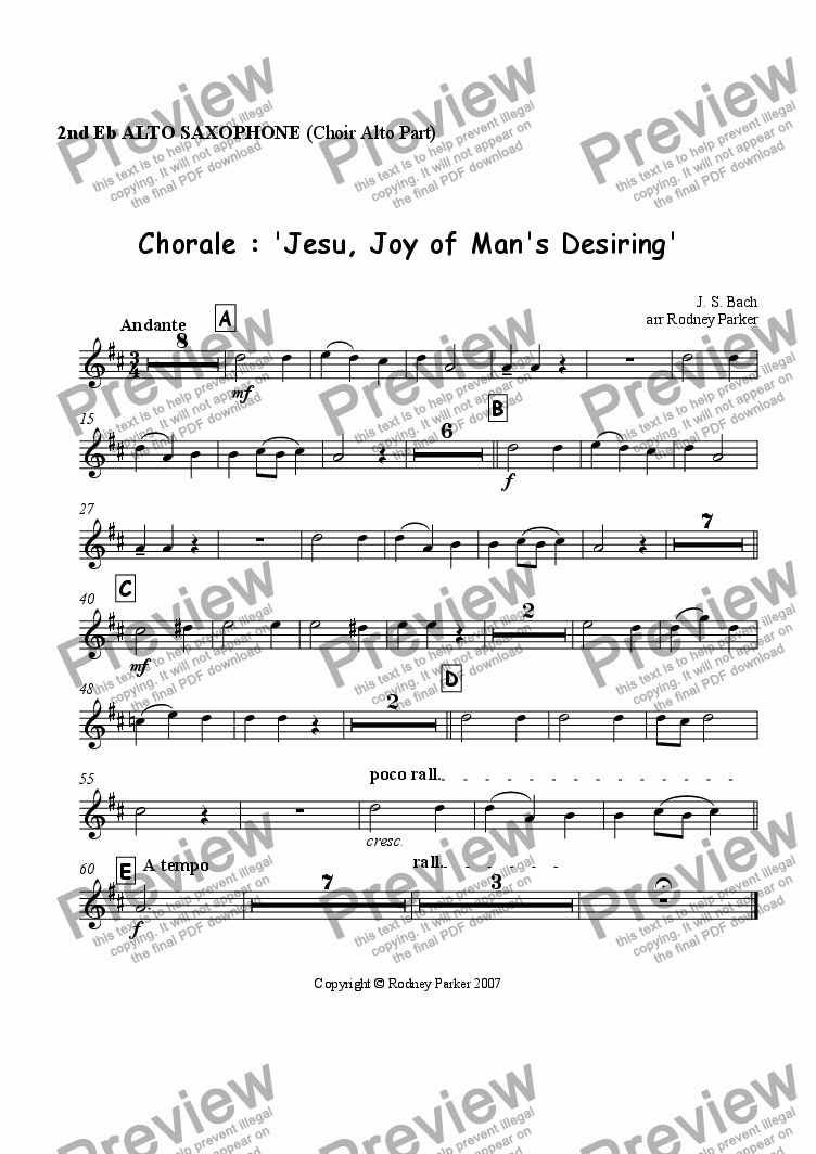 page one of the 2nd Alto Sax part from Choral : 'Jesu, Joy of Man's Desiring'