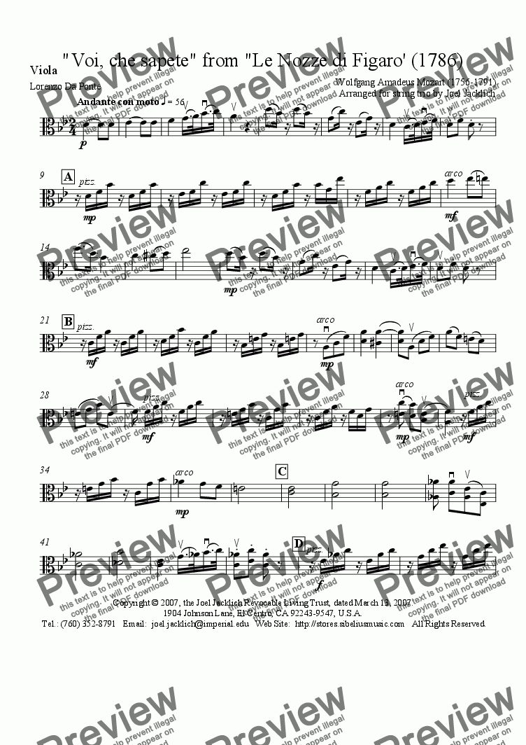 page one of the Viola part from Voi, che sapete, from Le Nozze di Figaro (arr. for string trio)