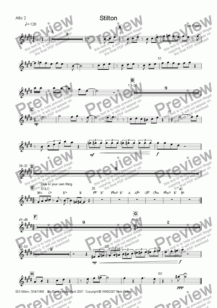 page one of the Alto 2 part from Stilton [Big Band version]