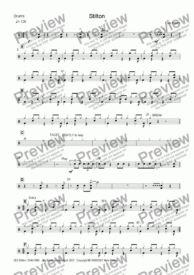 page one of the Drums part from Stilton [Big Band version]