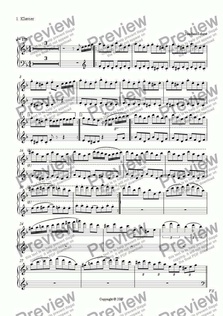 page one of the Piano 1 part from The Strings of Habana (Strings and piano for 4 hands)