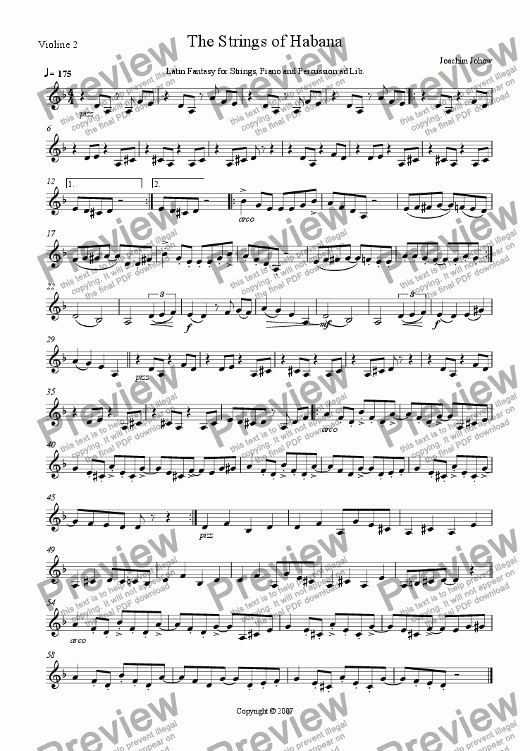 page one of the 2. Vl part from The Strings of Habana (Strings and piano for 4 hands)