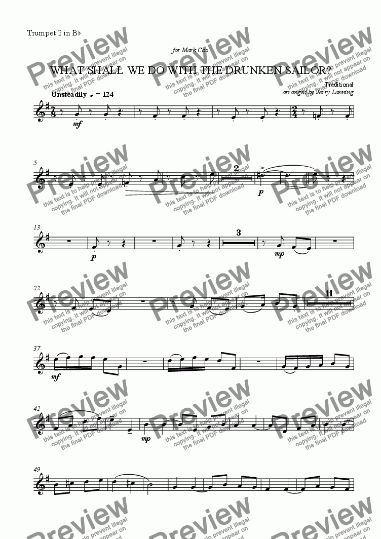 page one of the Trumpet 2 in Bb part from What Shall We Do With The Drunken Sailor? (brass quintet)