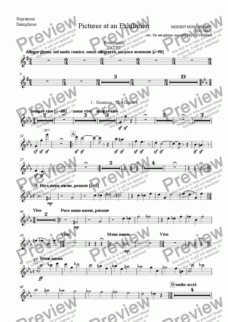 page one of the Sopranino Saxophone part from Pictures at an Exhibition (for Saxophone Ensemble)