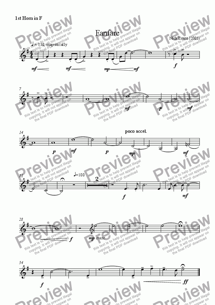 page one of the 1st horn part from Fanfare