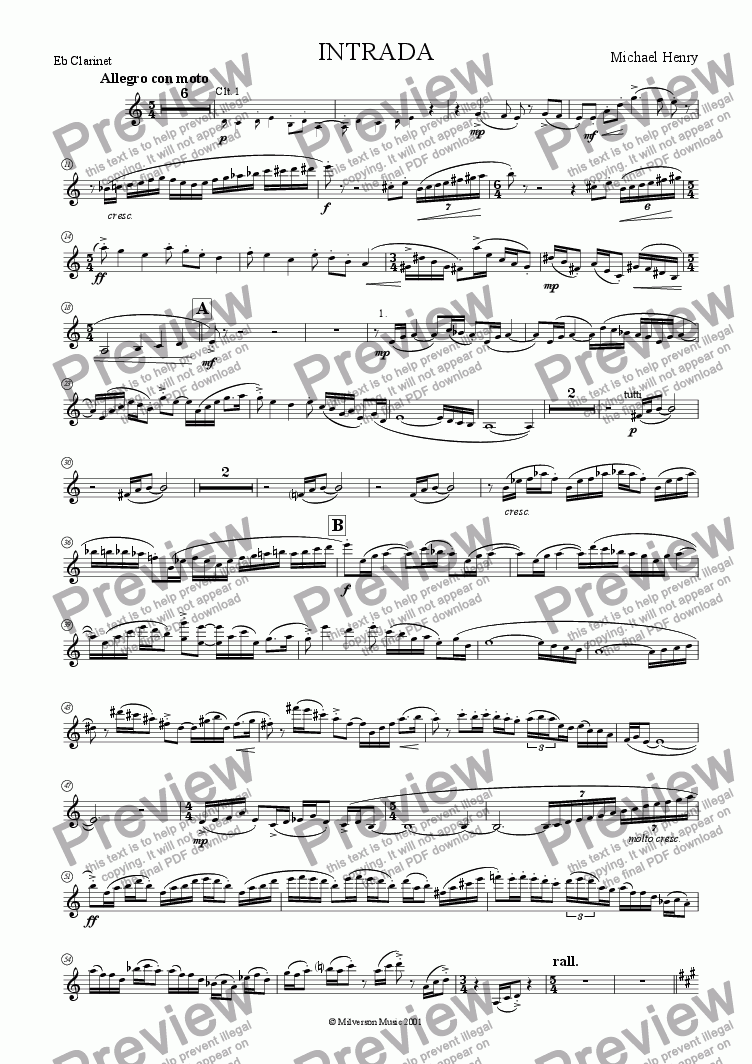 page one of the Eb Clarinet part from Intrada