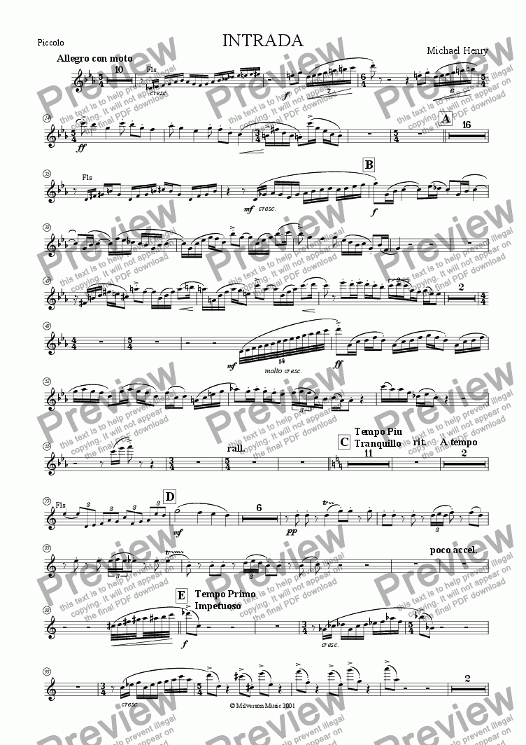 page one of the Piccolo part from Intrada