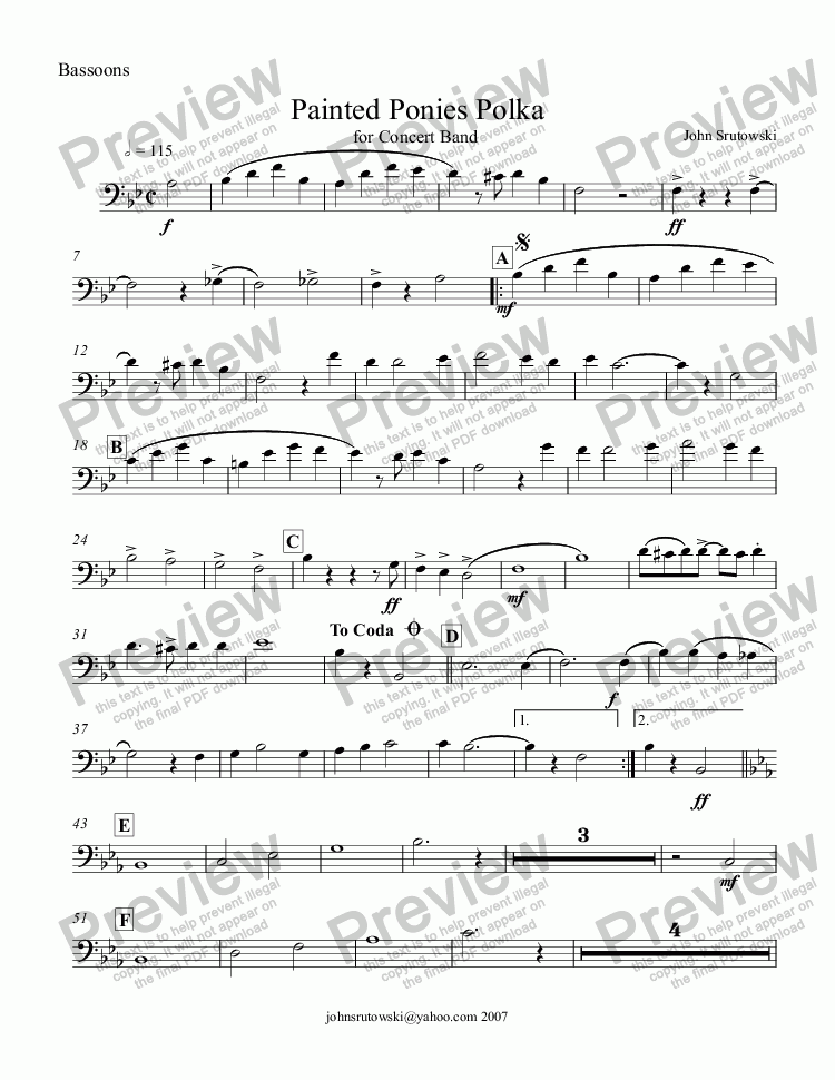 page one of the Bassoon part from Painted Ponies (An American Polka for Concert Band)