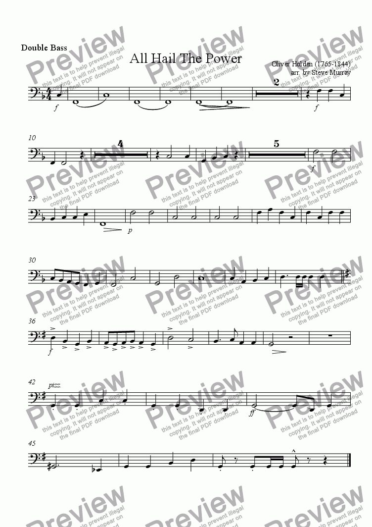 page one of the String Bass part from All Hail The Power