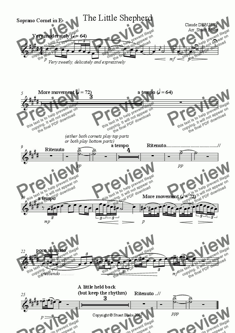 page one of the Eb Soprano Cornet part from The Little Shepherd (Brass Octet) (Concert Brass instruments)