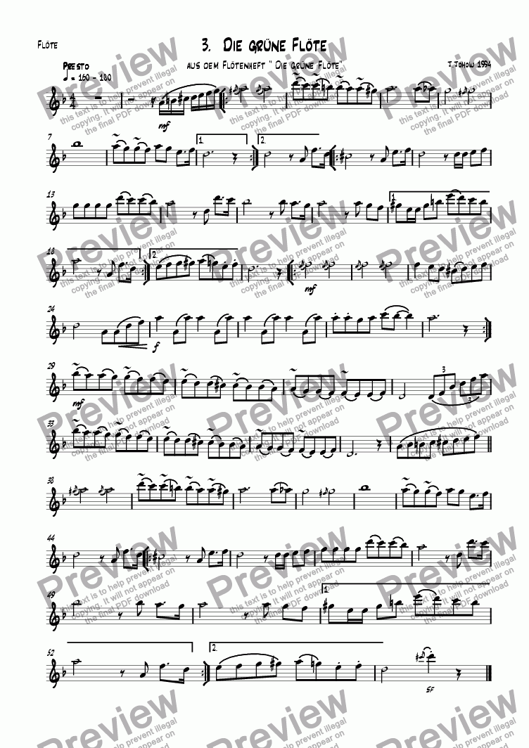 page one of the Fl part from Flute book 03 (The green Flute)