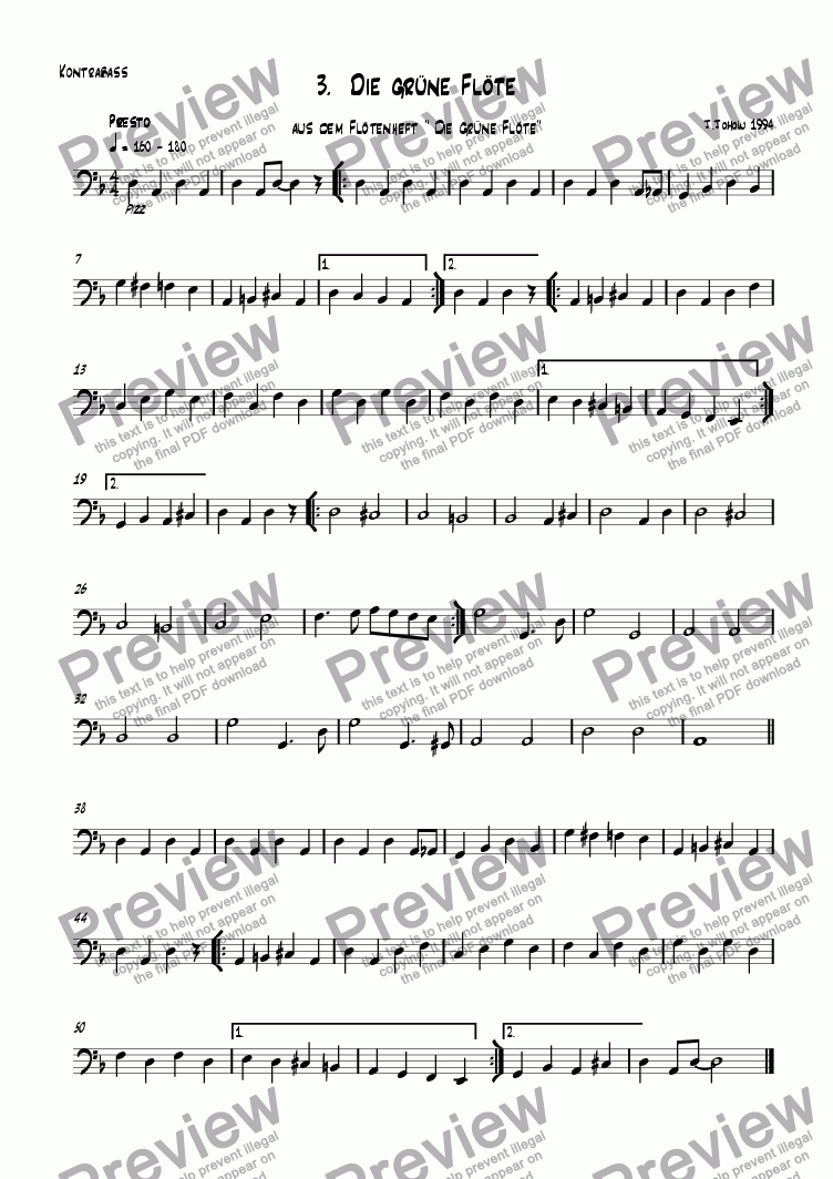 page one of the Bass part from Flute book 03 (The green Flute)