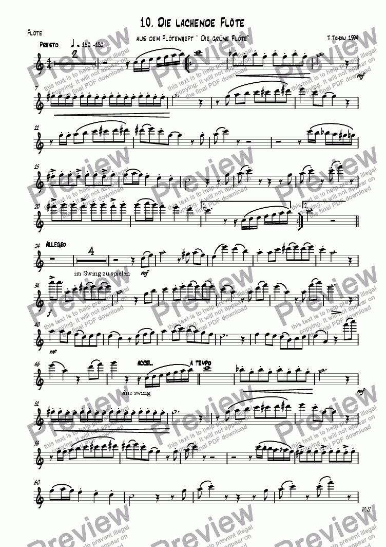 page one of the Fl part from Flute book 10 (The laughing Flute)