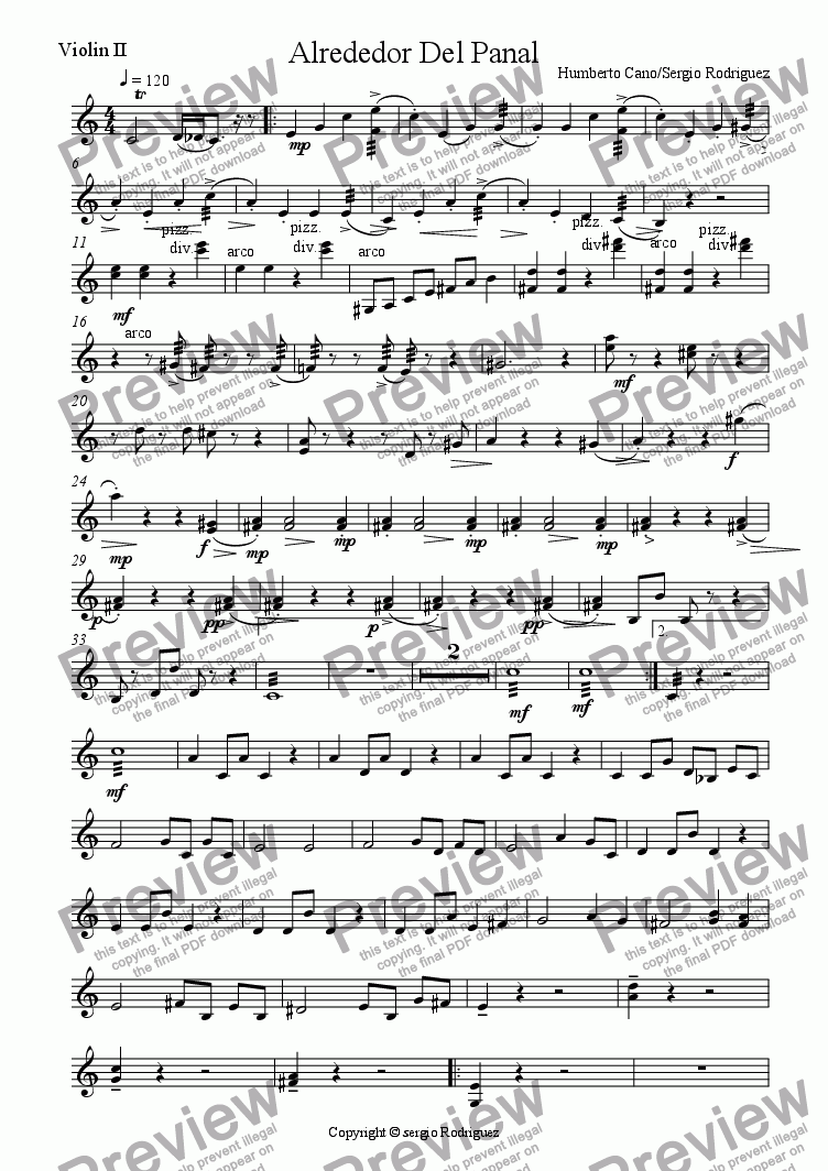 page one of the Violin II part from Around the Honey Bee for violin solo and Orchestra