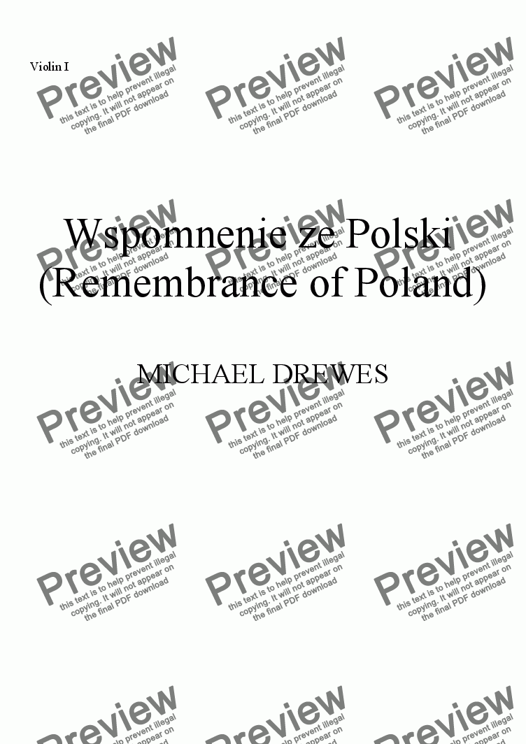 page one of the Violin I part from Wspomnenie ze Polski I (Remembrance of Poland I) for Film Orchestra