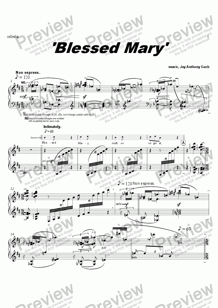 page one of the celeste part from Blessed Mary (w/ celeste obbligato)