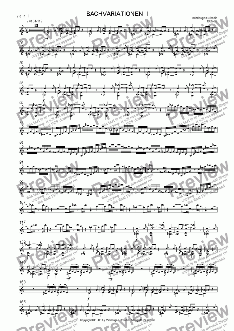 page one of the violin 3 part from Bachvariationen I