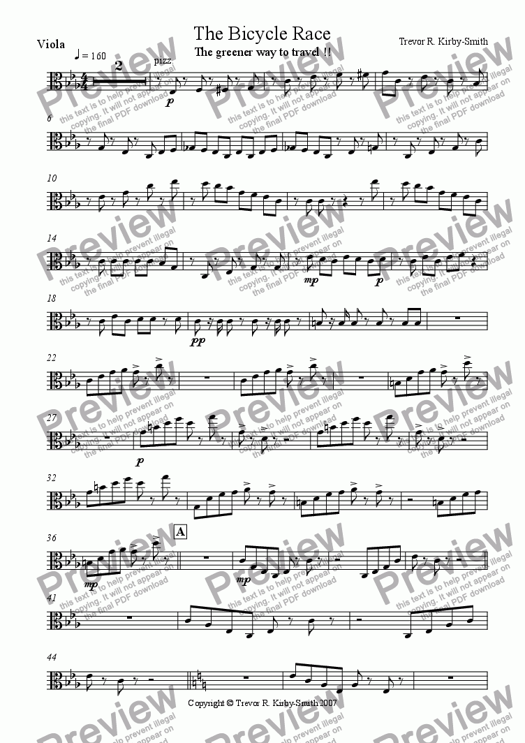 page one of the Viola part from The Bicycle Race