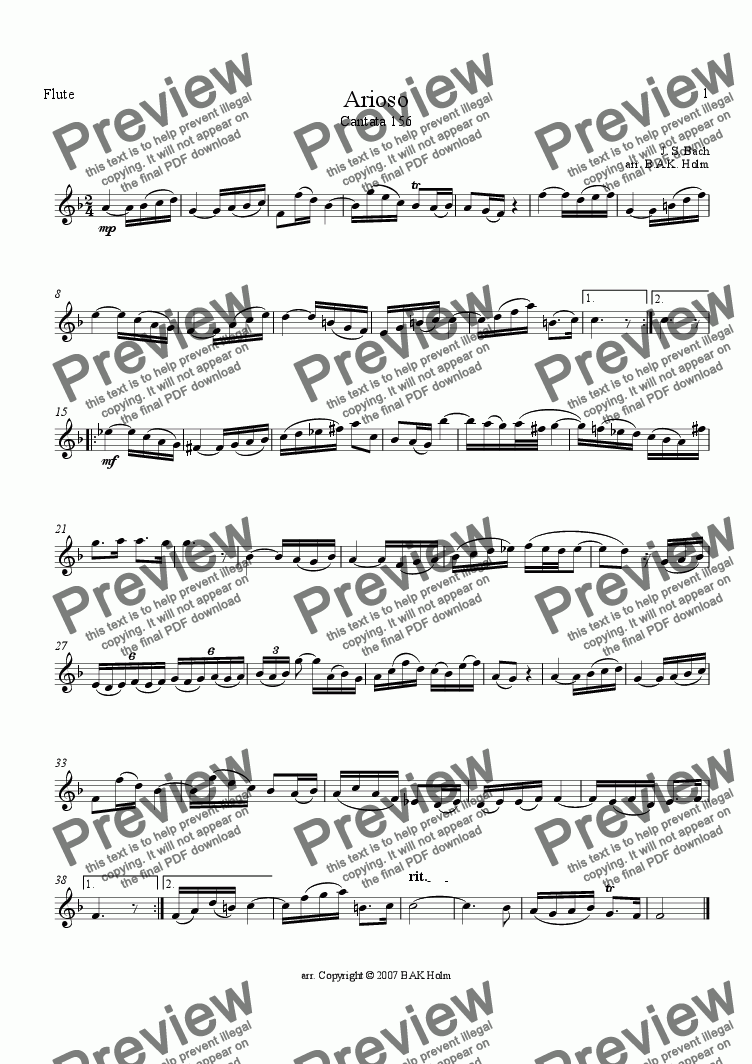 page one of the Flute part from Arioso-Bach (flute, violin, and cello)