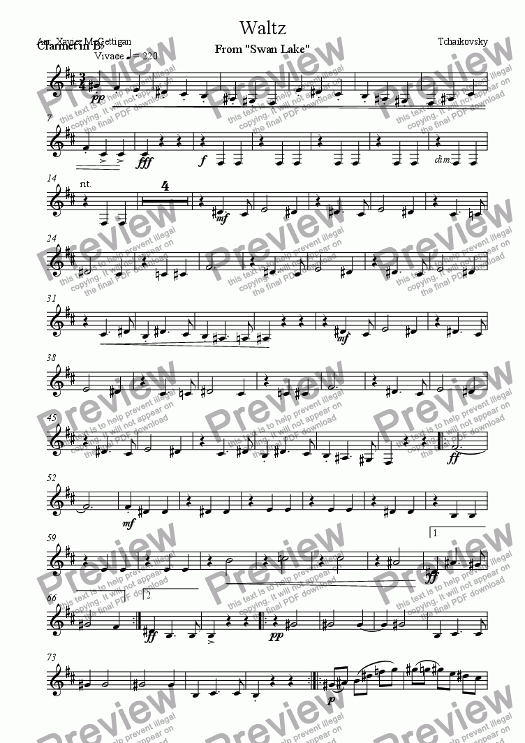 page one of the Clarinet 3 part from Waltz From Swan Lake (Clarinet Quartet)
