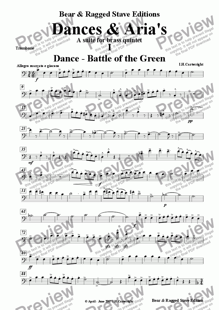 page one of the Trombone part from Dances & Aria's - A Suite for Brass quintet