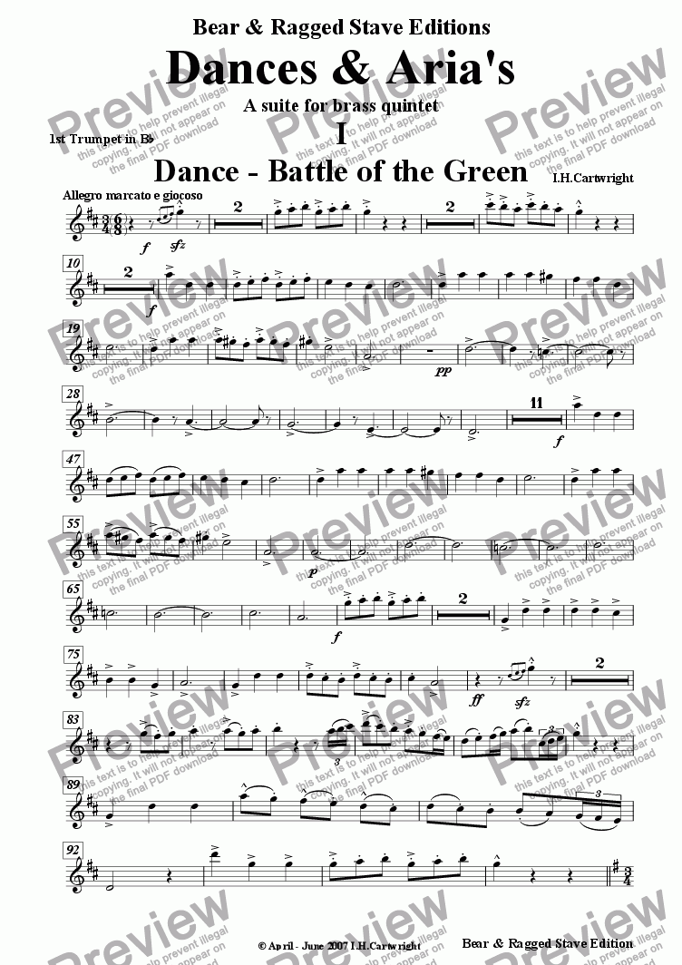 page one of the 1st Trumpet in Bb part from Dances & Aria's - A Suite for Brass quintet
