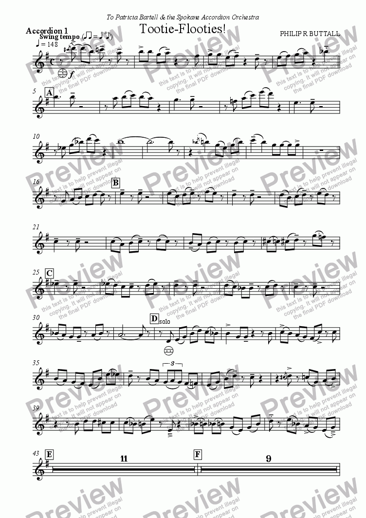 page one of the Accordion 1 part from Tootie-Flooties! (Accordion Orchestra)