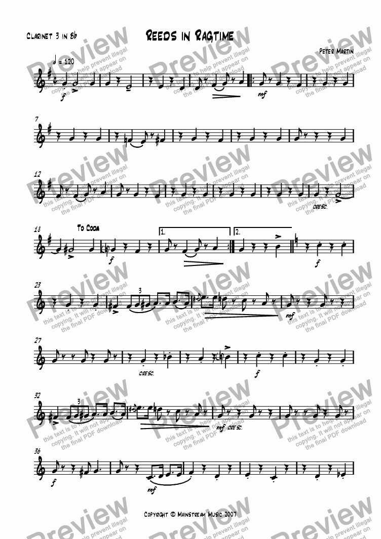 page one of the Clarinet 3 part from Reeds in Ragtime
