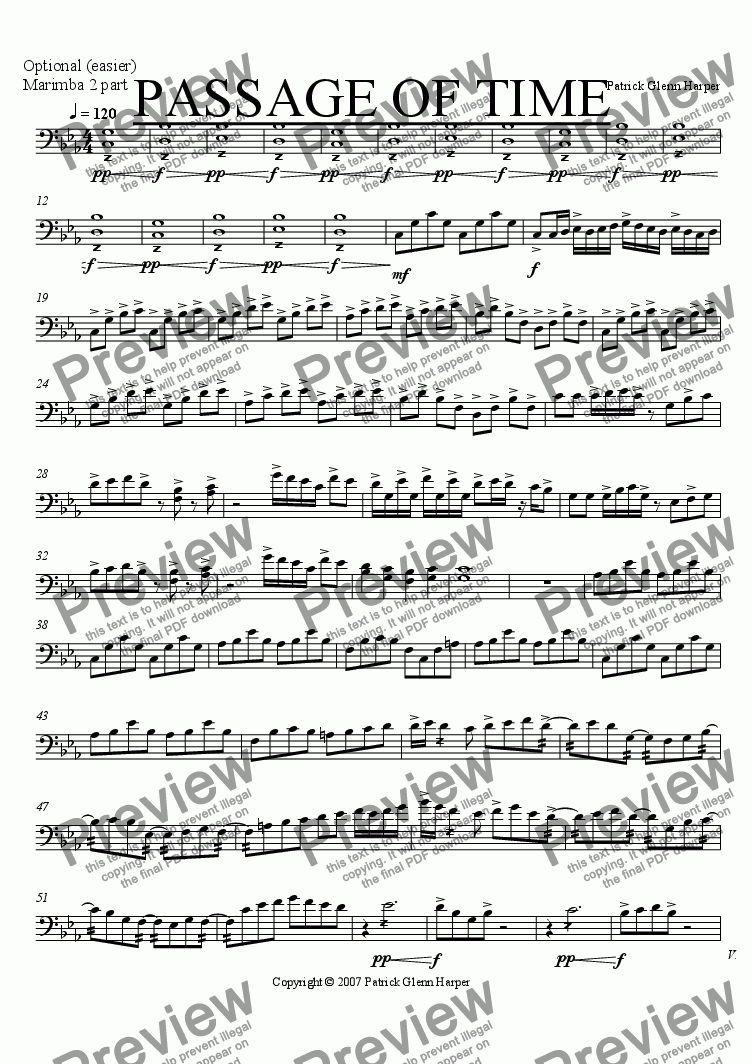 page one of the Optional (easier) Marmimb 2 part part from Passage of Time - for Percussion Ensemble