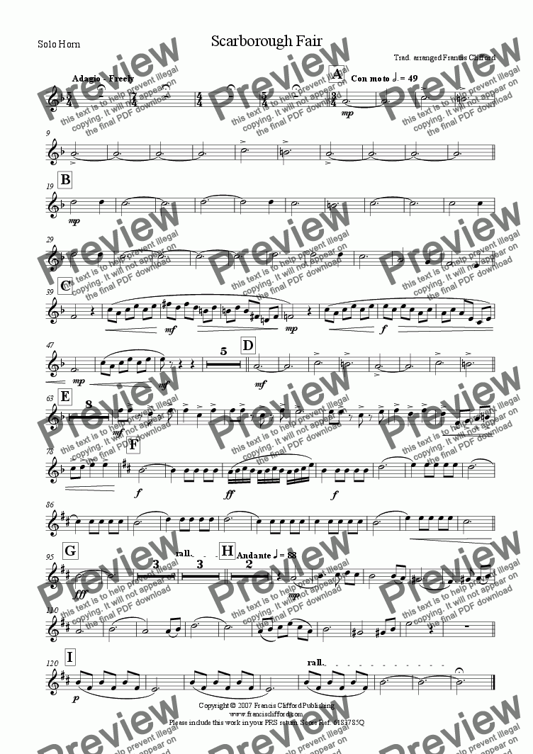 page one of the Solo Horn in Eb part from Scarborough Fair (Brass Band Version)